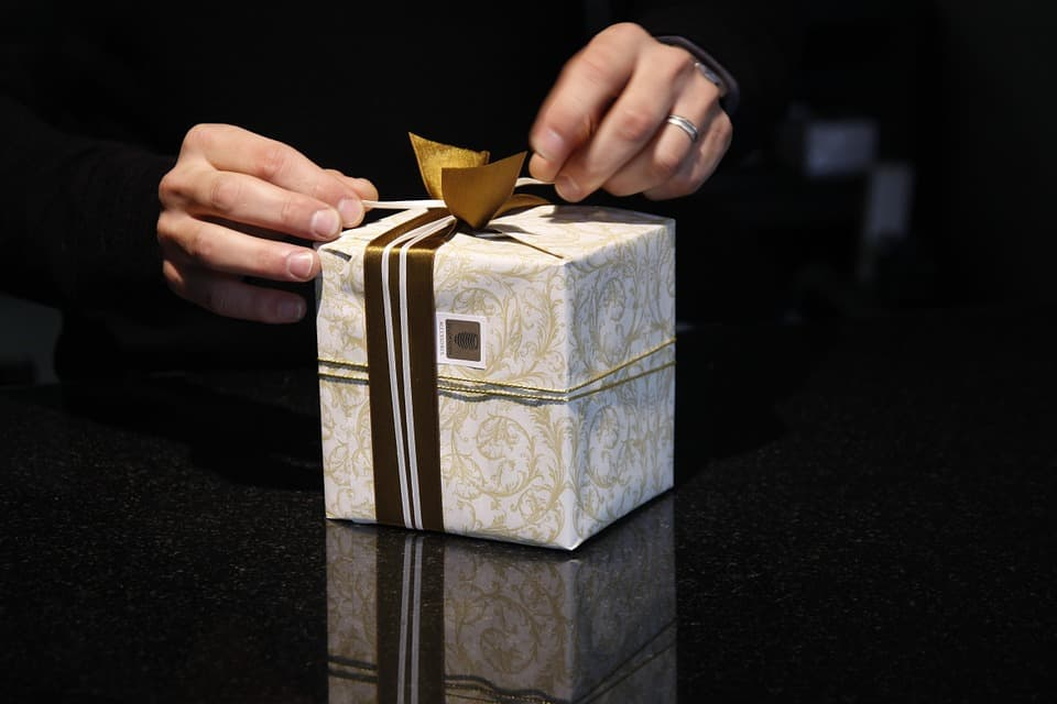 Box gift wrapped with ribbon