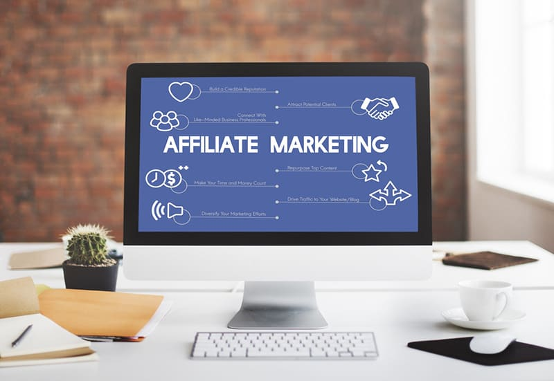 Monitor showing information about affiliate marketing