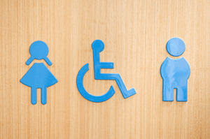 male female and disabled signage on door