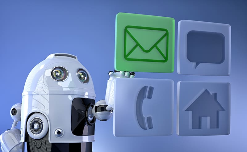 Robot touching virtual mobile icons. Communication concept