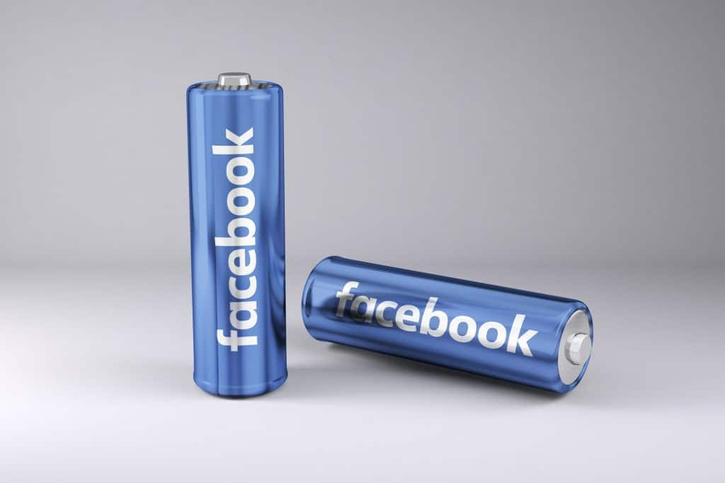 Batteries with Facebook logo - power of Facebook ads