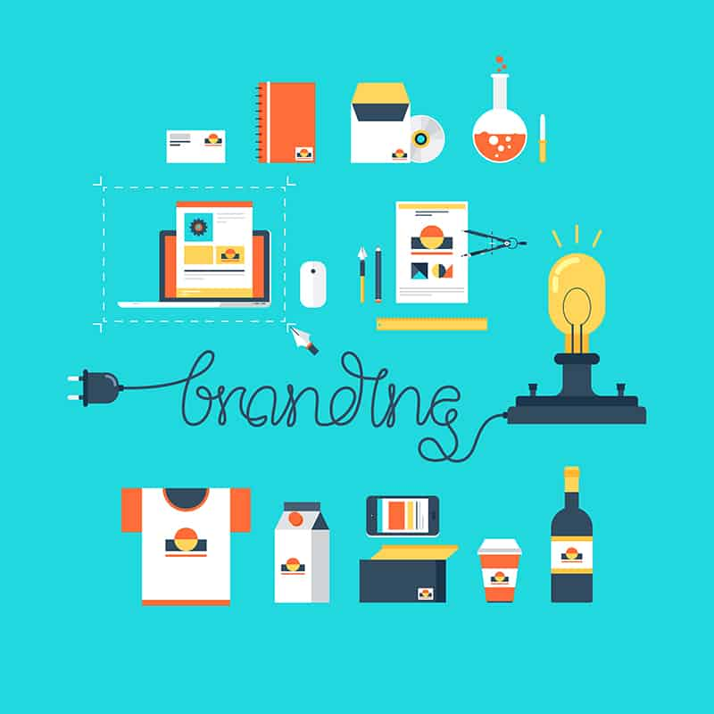 Abstract flat vector illustration of branding and business identity creation concept isolated on blue background.