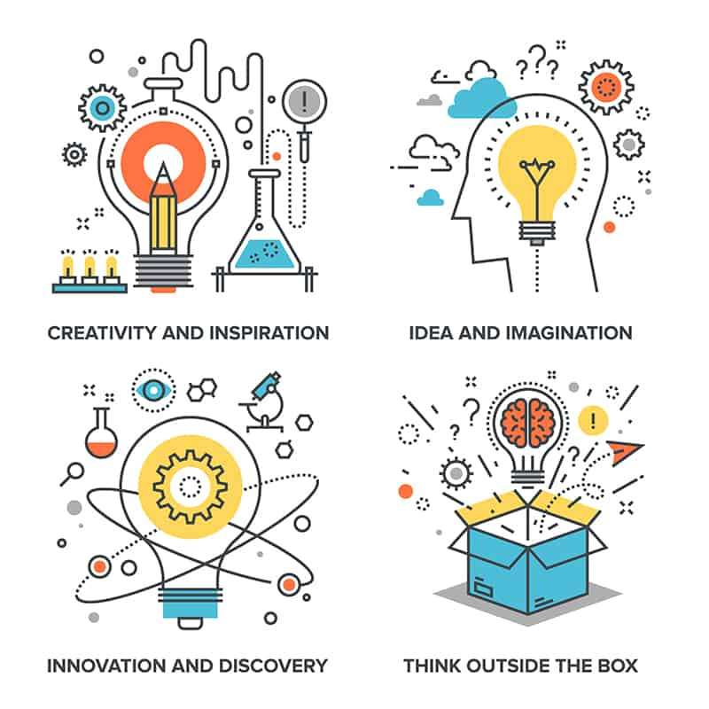 Have a Great Invention? Here's How to Make it a Product - Vector set of conceptual flat line illustrations on following themes - creativity and inspiration, idea and imagination, innovation and discovery, think outside the box