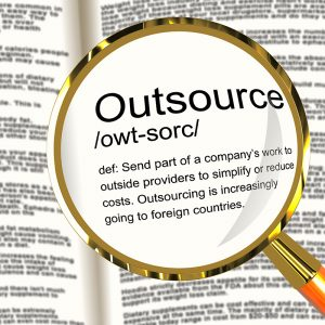 Outsource Definition Magnifier Shows Subcontracting Suppliers And Freelance
