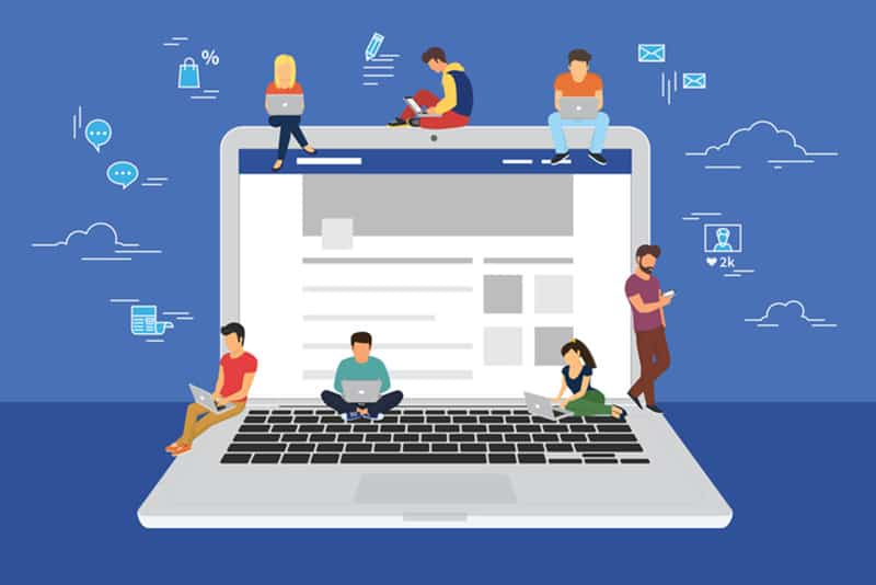 Social network web site surfing concept illustration of young people using mobile gadgets such as smarthone, tablet and laptop to be a part of online community. Flat guys and women on big notebook with symbols