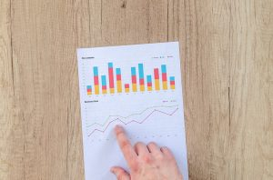 Charts and graphs depicting a successful international investment portfolio