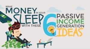 Man asleep and money pouring in - make money in your sleep
