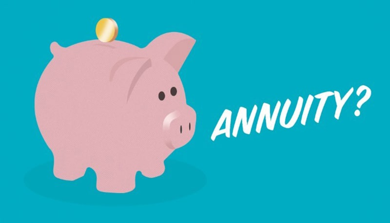 Piggy bank with coin, saving for an annuity