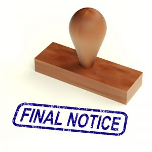 Final Notice Rubber Stamp Showing Outstanding Payments Due