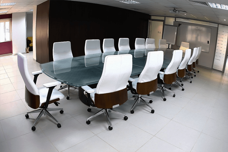 Confernece room in virtual workspace - large table and chairs