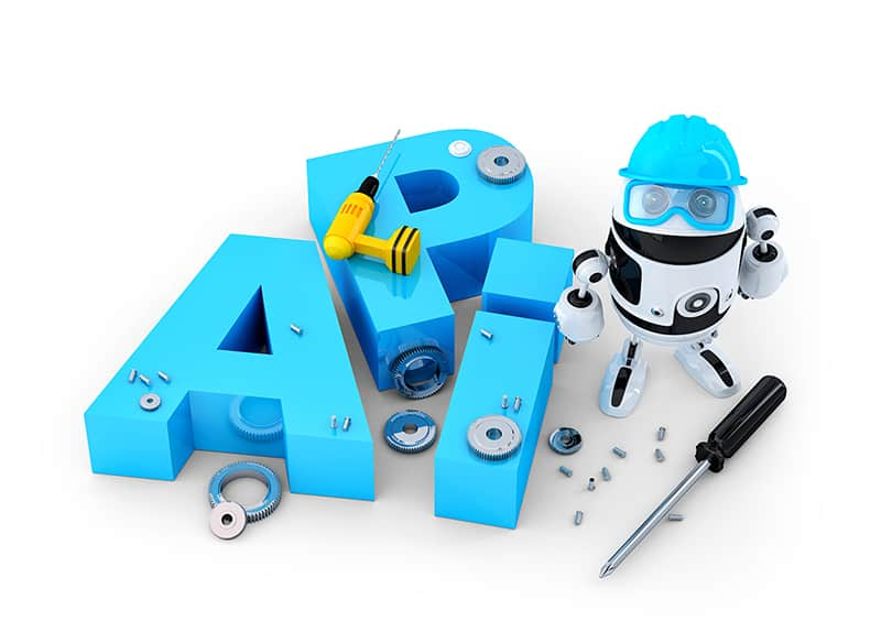 Why Should You Learn API Design - Robot with application programming interface sign. Technology concept. Isolated on white background