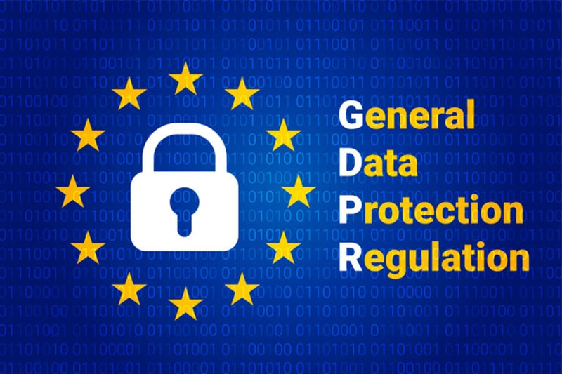 GDPR - General Data Protection Regulation. EU flag. Vector illustration