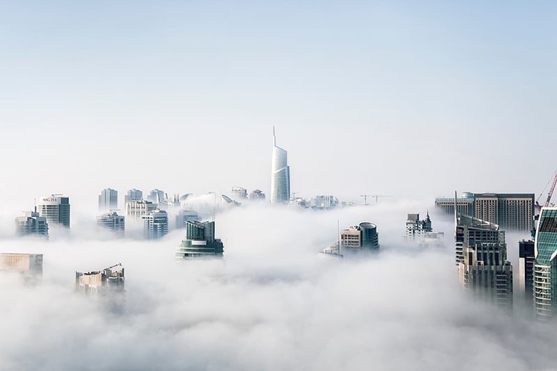 View of Cityscape through the clouds