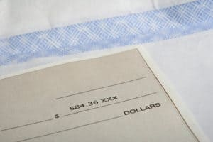 paycheck showing monetary amount in dollars
