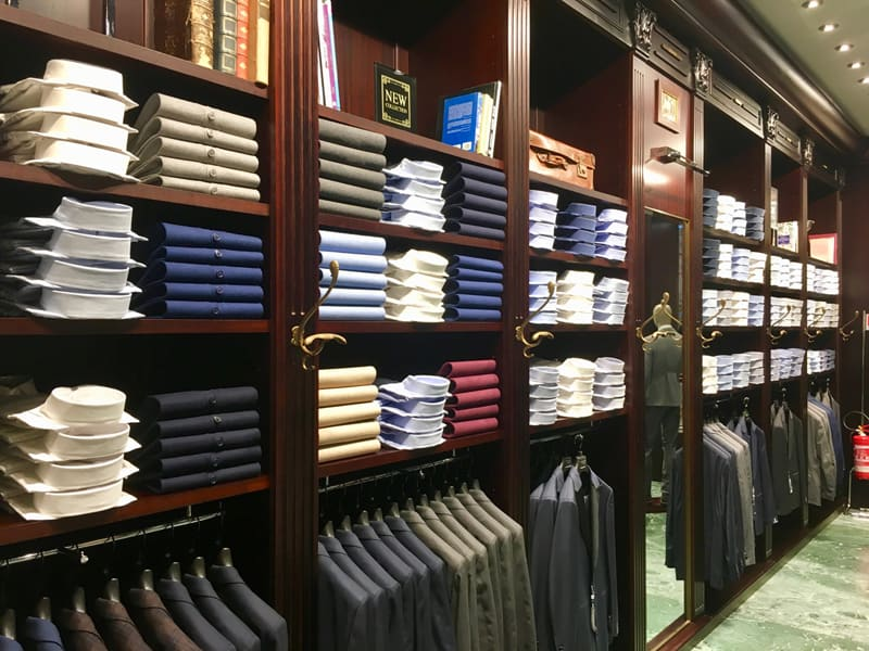 Shirts and suits in retail store