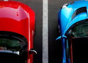 close up view of two cars taken from above