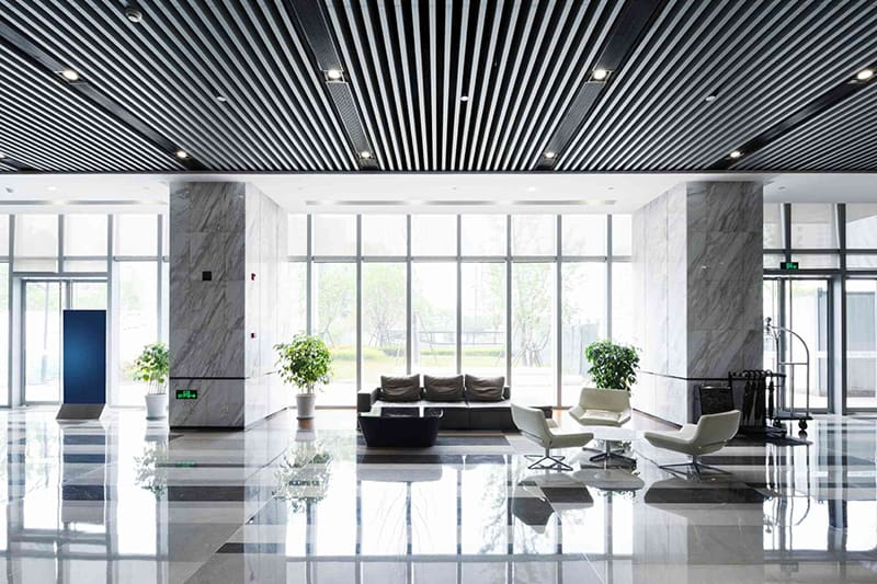 clean foyer area cleaned by professional janitorial services