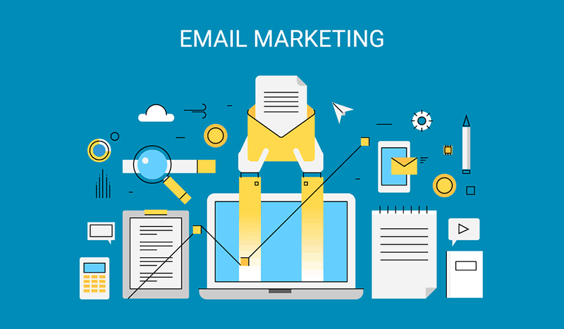 Illustration depicting email marketing
