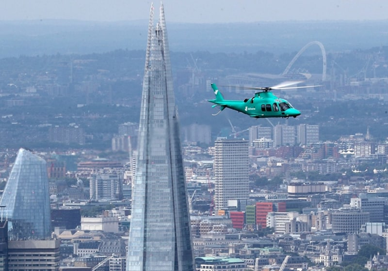 London diners flying past the Shard in Charter A's Roocopter sponsored by Deliveroo