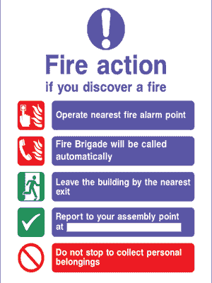 signs for warehouses - fire action