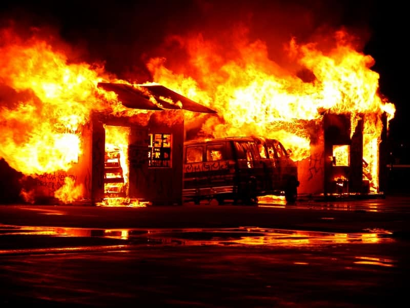 Burning house which is a real business emergency