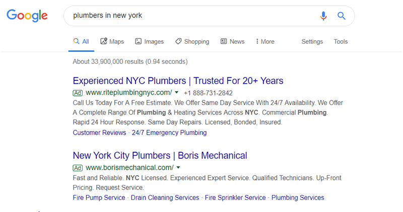 Google search resluts for plumbers in New York