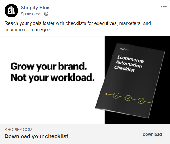 Example Facebook ad for Shopify Plus with lead magnet