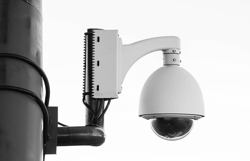 Security systems - white camera on post