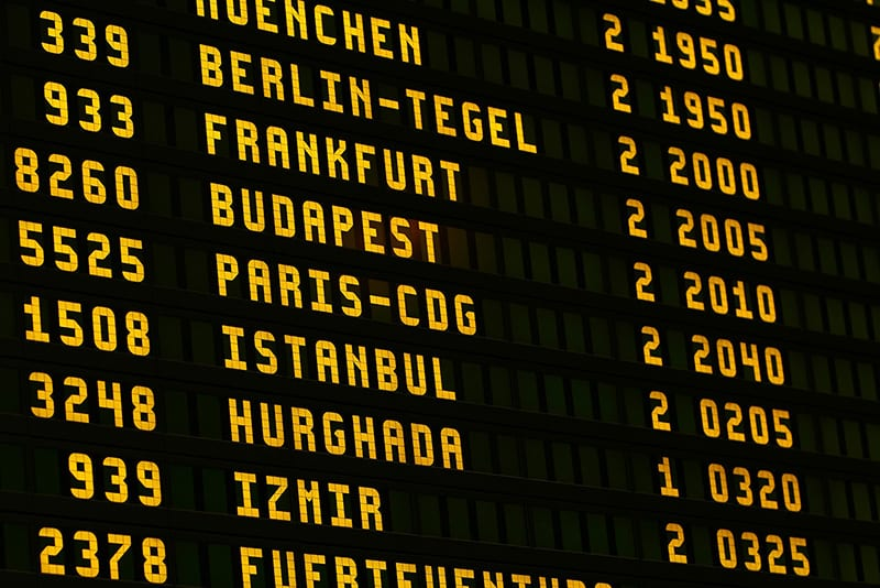 travel and  tourism departure boards
