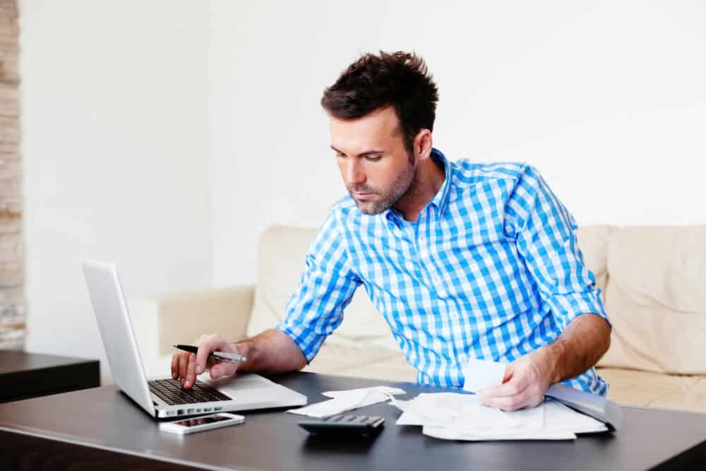 Man doing business deby management - checking accounts