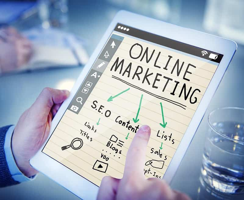 Tablet with online marketing elements - digital marketing
