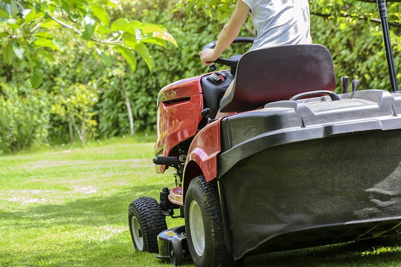 Person with lawn care business cutting grass on ride on lawn mower