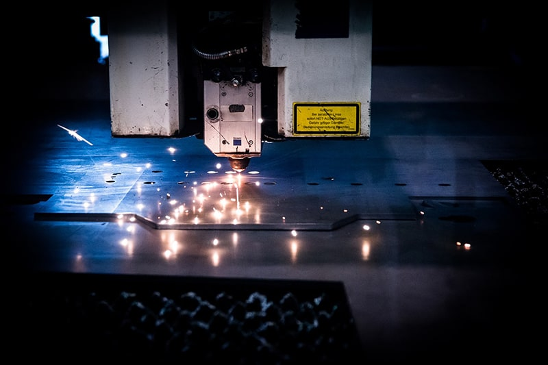 Laser cutting machine in use