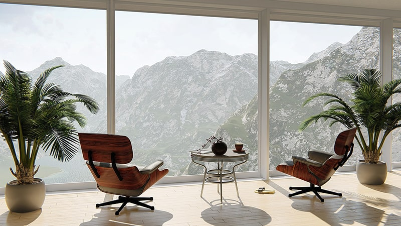 real estate investments - interior view of apartment - looking out to mountains