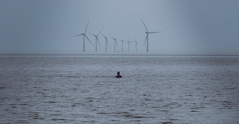 View from Crosby Beach Liverpool – Offshore wind farm – offshore wind energy