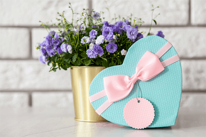 Corporate gift ideas - flowers and heart shaped box