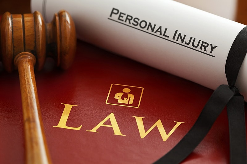 Law document -personal injury and gavel