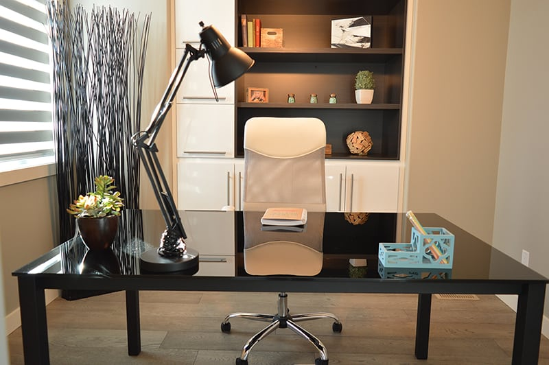 Modern office design - bookcase, desk and chair