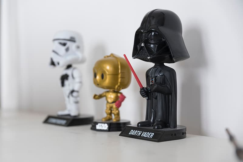 Toys - Star wars - Darth Vader. Stormtrooper, and C-P30 bobbleheads beside each other