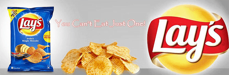 Lays Packaging with tag line you can't eat just one
