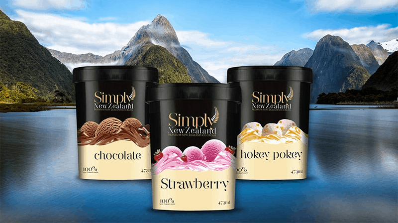 Simply New Zealand ice cream packaging