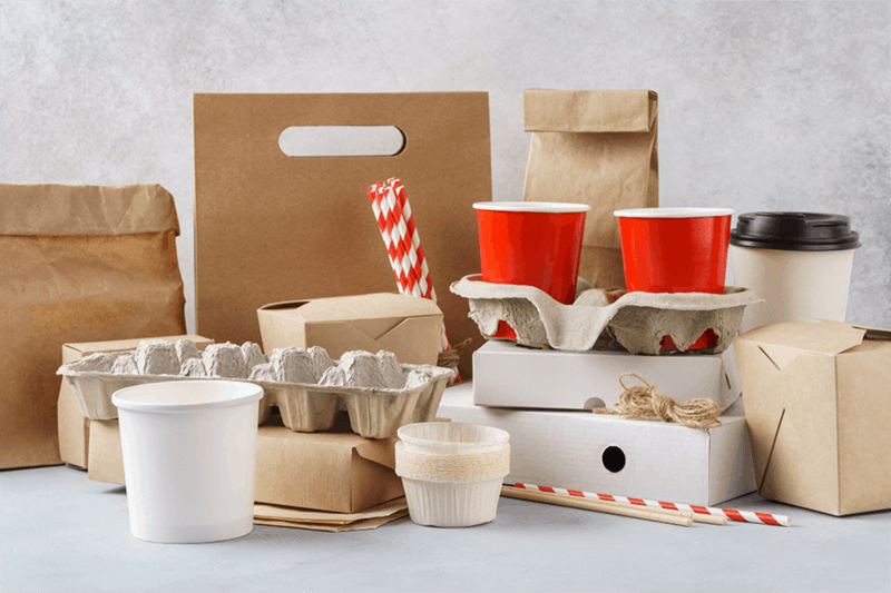 various eco-friendly packaging and disposable bio-degradeable packaging