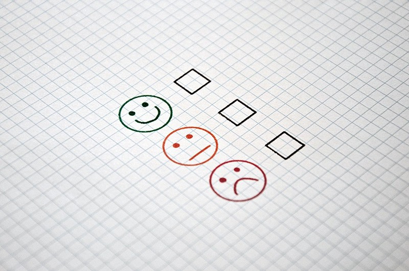 Tick box and faces for customer feedback - feedback checklist