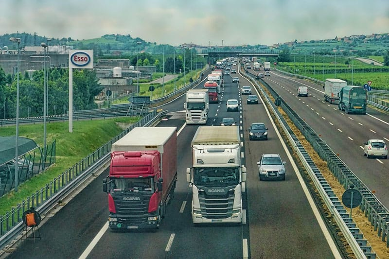 Highway with vehicles - truck, car