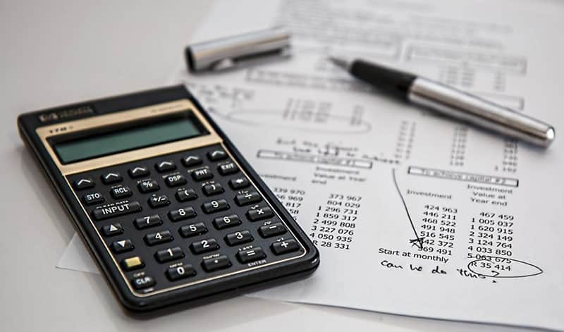 calculator and business budget cash flow statement