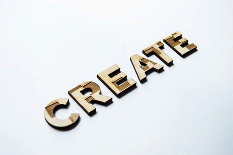 letters spelling the word create- create a well designed website