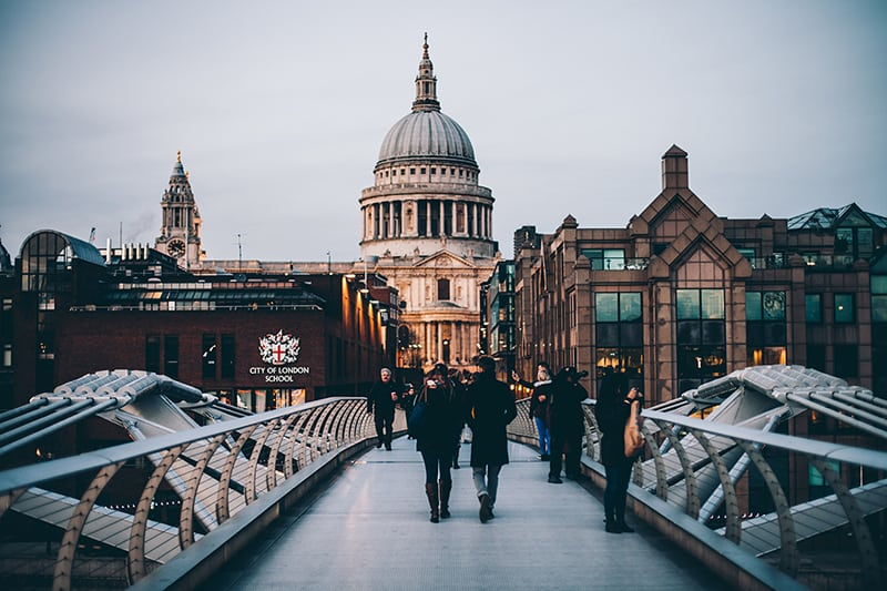 Millennium bridge - St Paul's Cathedral - London UK