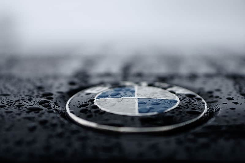 BMW product badge on car