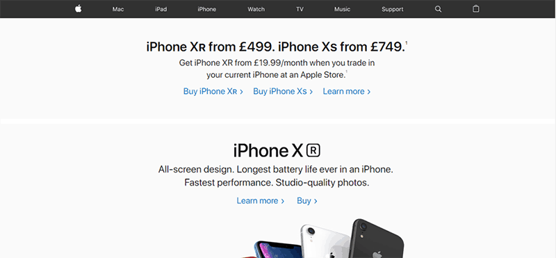 above the fold section of website showing iPhone products