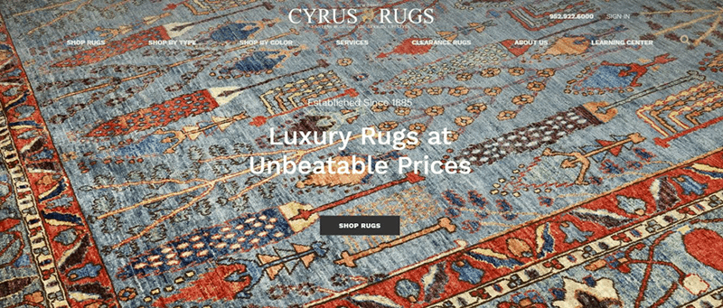 website screen shot that contains a tagline that says the brand offers luxury rugs